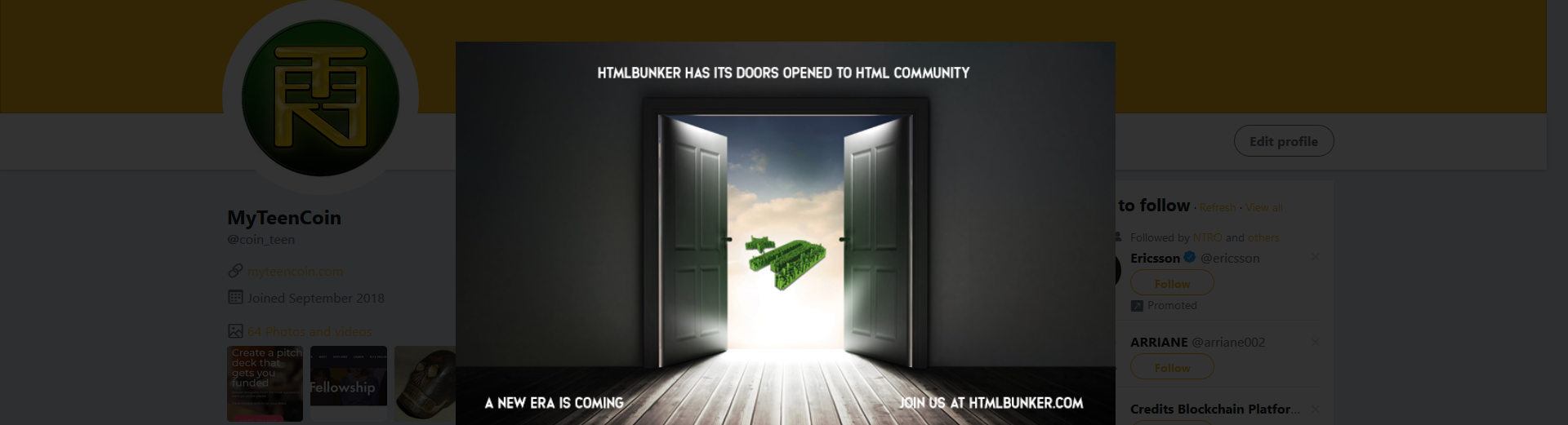 #htmlbunker adds Teen Coin to Exchange