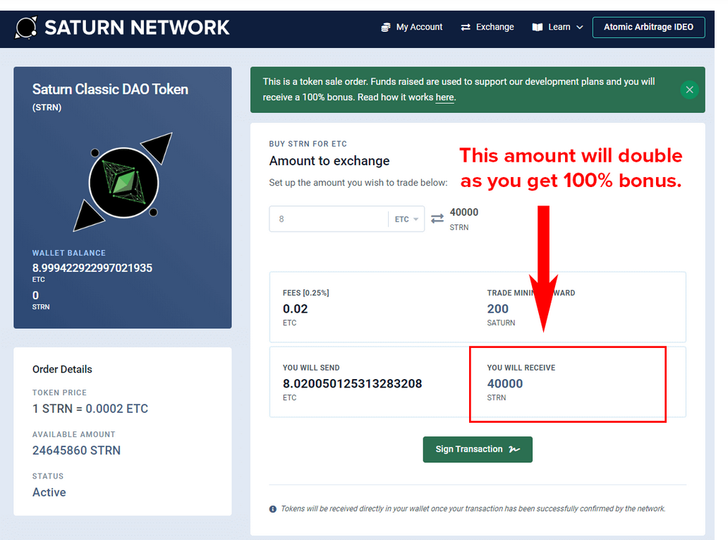Get 100% Buy Bonus on STRN or SATURN #HODL
